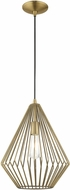 Livex 41325-01 Geometric Shade Modern Antique Brass Mini Ceiling Pendant Light