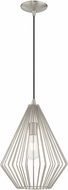 Livex 41325-91 Geometric Shade Contemporary Brushed Nickel Mini Pendant Lighting