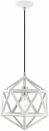 Livex 41328-03 Geometric Shade Contemporary White Hanging Lamp