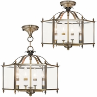 Livex 4398-01 Livingston Antique Brass Entryway Light Fixture / Ceiling Lighting