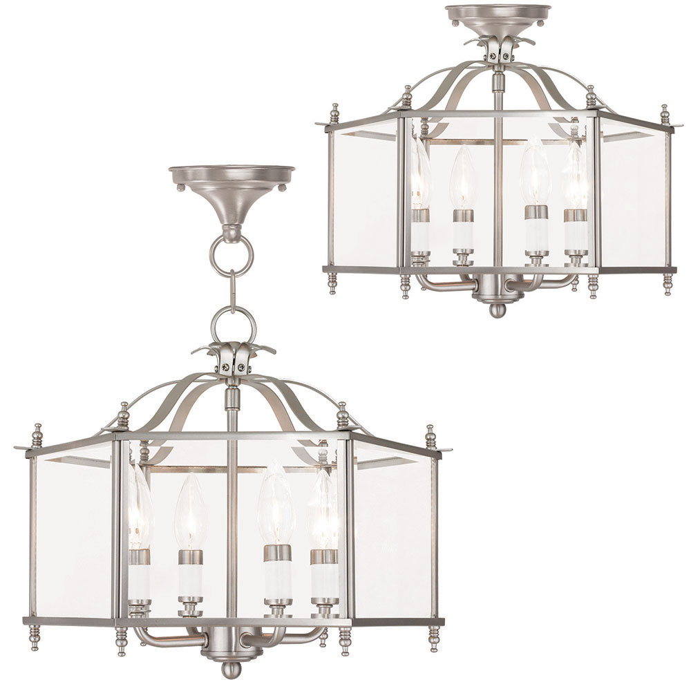Livex 4398 91 Livingston Brushed Nickel Foyer Lighting Fixture Ceiling Loading Zoom