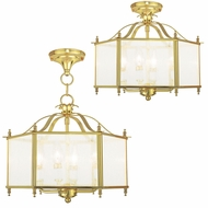Livex 4399-02 Livingston Polished Brass Foyer Lighting / Flush Lighting