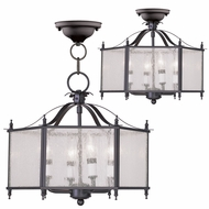Livex 4399-07 Livingston Bronze Foyer Light Fixture / Flush Mount Lighting