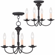 Livex 4524-04 Heritage Black Mini Chandelier Light / Ceiling Light Fixture