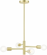 Livex 45864-12 Bannister Contemporary Satin Brass Mini Hanging Chandelier