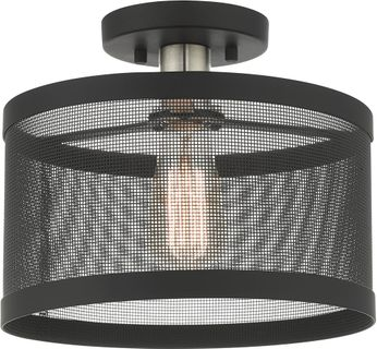 Livex 46216-04 Industro Contemporary Black with Brushed Nickel Accents Flush Ceiling Light Fixture