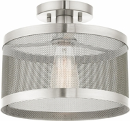 Livex 46216-91 Industro Modern Brushed Nickel Flush Mount Ceiling Light Fixture
