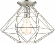 Livex 46248-91 Geometric Modern Brushed Nickel 14  Ceiling Light Fixture