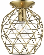 Livex 46598-01 Geometrix Contemporary Antique Brass 8  Flush Mount Lighting Fixture