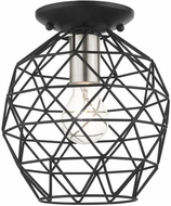 Livex 46598-04 Geometrix Contemporary Black 8  Flush Ceiling Light Fixture