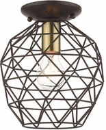 Livex 46598-07 Geometrix Contemporary Bronze 8  Flush Mount Ceiling Light Fixture