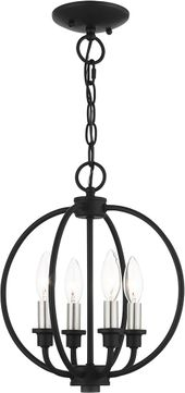 Livex 4664-04 Milania Black with Brushed Nickel Accents Foyer Lighting