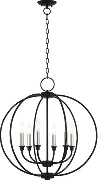 Livex 4666-04 Milania Black with Brushed Nickel Accents Foyer Light Fixture