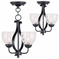 Livex 4804-67 Brookside Olde Bronze Mini Chandelier Lamp / Flush Ceiling Light Fixture