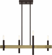 Livex 49334-07 Denmark Modern Bronze with Antique Brass Accents Kitchen Island Light