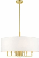 Livex 49376-12 Meridian Contemporary Satin Brass 24  Drum Hanging Light