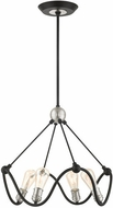 Livex 49733-14 Archer Contemporary Textured Black with Brushed Nickel Mini Chandelier Light
