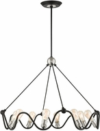 Livex 49736-14 Archer Contemporary Textured Black with Brushed Nickel Chandelier Lighting