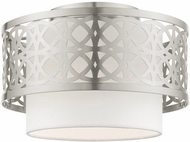 Livex 49862-91 Calinda Modern Brushed Nickel 12  Flush Mount Lighting