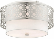 Livex 49863-91 Calinda Modern Brushed Nickel 16  Flush Mount Light Fixture