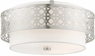 Livex 49864-91 Calinda Contemporary Brushed Nickel 20  Flush Ceiling Light Fixture