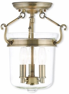 Livex 50481-01 Rockford Antique Brass Flush Mount Light Fixture