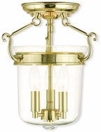 Livex 50481-02 Rockford Polished Brass Flush Mount Lighting Fixture