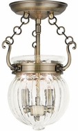 Livex 50502-01 Everett Antique Brass Flush Mount Lighting Fixture