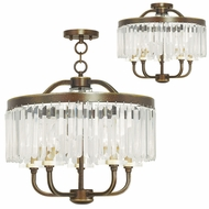 Livex 50545-64 Ashton Hand Painted Palacial Bronze Mini Hanging Chandelier / Overhead Light Fixture