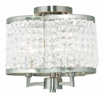 Livex 50573-91 Grammercy Brushed Nickel Overhead Lighting Fixture