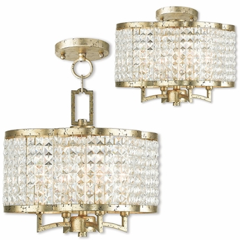 Livex 50574-28 Grammercy Hand Applied Winter Gold Mini Chandelier Lighting / Ceiling Lighting