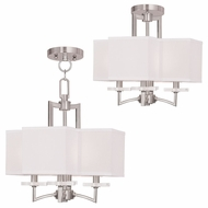 Livex 50704-91 Woodland Park  Contemporary Brushed Nickel Mini Ceiling Chandelier / Ceiling Light Fixture