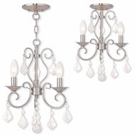 Livex 50763-91 Donatella Brushed Nickel Mini Hanging Chandelier / Flush Lighting