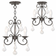 Livex 50763-92 Donatella English Bronze Mini Chandelier Light / Flush Mount Lighting