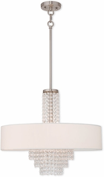 Livex 51034-91 Carlisle Brushed Nickel 22  Drum Ceiling Light Pendant