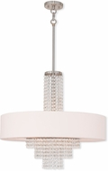 Livex 51037-91 Carlisle Brushed Nickel 25  Drum Ceiling Pendant Light