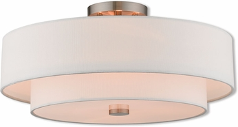 Livex 51045-91 Claremont Brushed Nickel Flush Mount Lighting