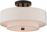 Livex 51083-92 Claremont English Bronze Flush Mount Light Fixture