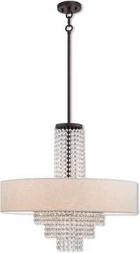 Livex 51115-92 Carlisle English Bronze 25  Drum Ceiling Pendant Light