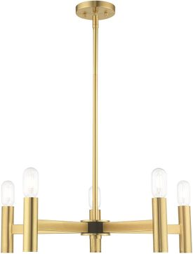 Livex 51135-12 Copenhagen Contemporary Satin Brass Hanging Chandelier