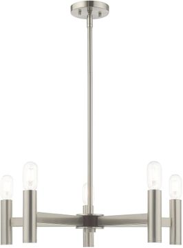 Livex 51135-91 Copenhagen Modern Brushed Nickel Lighting Chandelier