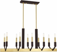 Livex 51168-12 Beckett Contemporary Satin Brass & Bronze Island Light Fixture