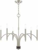 Livex 51336-91 Wisteria Contemporary Brushed Nickel Chandelier Light