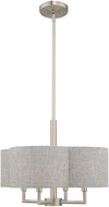 Livex 51364-91 Kalmar Brushed Nickel 18  Drum Pendant Hanging Light