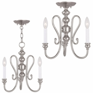 Livex 5163-35 Caldwell Polished Nickel Mini Chandelier Light / Flush Ceiling Light Fixture