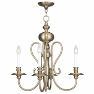 Livex 5164-01 Caldwell Antique Brass Mini Chandelier Light