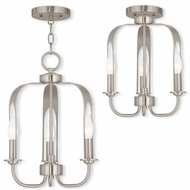 Livex 51933-91 Addison Modern Brushed Nickel Mini Chandelier Light / Ceiling Light Fixture