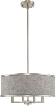 Livex 60424-91 Park Ridge Brushed Nickel 18  Drum Pendant Lighting Fixture