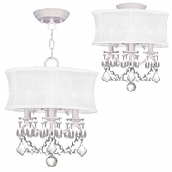 Livex 6303-03 Newcastle White Drum Hanging Lamp / Ceiling Light Fixture