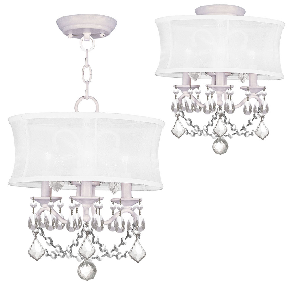 Livex 6303 03 Newcastle White Drum Hanging Lamp Ceiling Light Fixture
